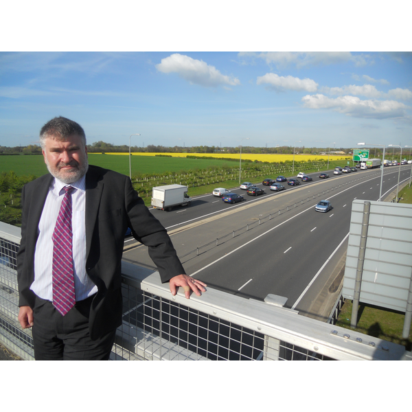 Mayor Dave Hodgson over the approach to the Black Cat Roundabout on the A421