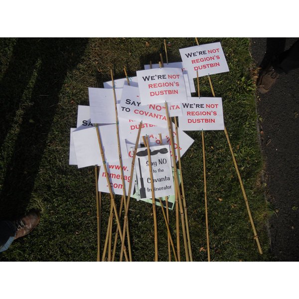 Placards from a Residents' Demo in Stewartby against the plans for an incinerator nearby