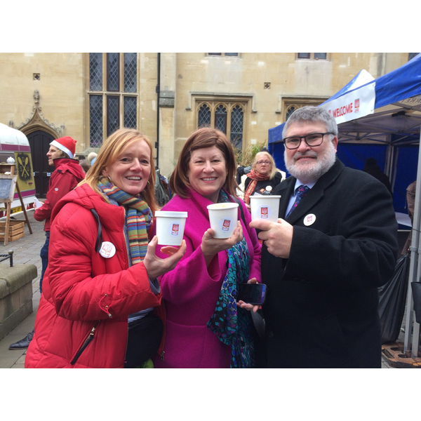 Mayor Dave Hodgson, Emma Garrett and HM Lord Lieutenant Helen Nellis at the 2017 SoupFest
