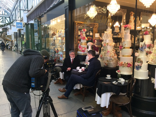 Mayor Dave Hodgson being Interviewed for TV in Bedford Town Centre