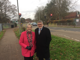 Mayor Dave Hodgson and Cllr Wendy Rider on Manton Lane, Bedford