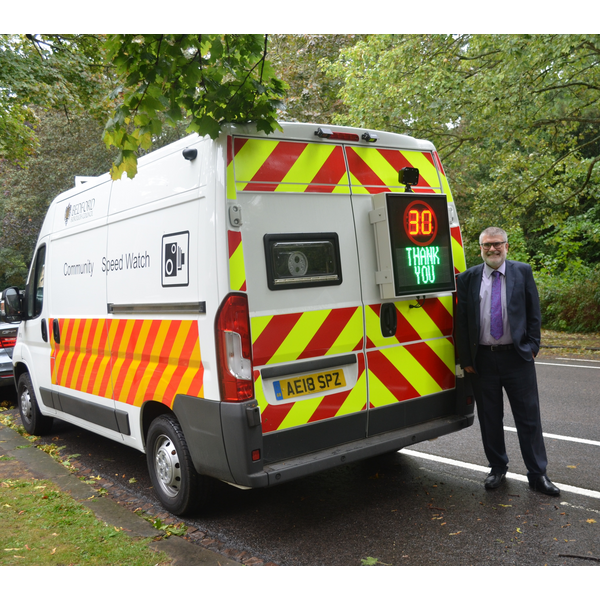 Mayor Dave Hodgson and the Speedwatch van
