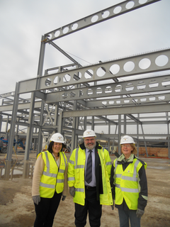 Mayor Dave Hodgson with Cllrs Sarah-Jayne Holland and Anita Gerard Check out the Progress Being Made at the Building Works for the Bedford Academy