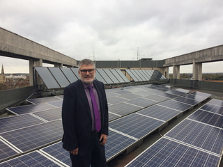 Mayor Dave Hodgson with the Solar Panels on Borough Hall