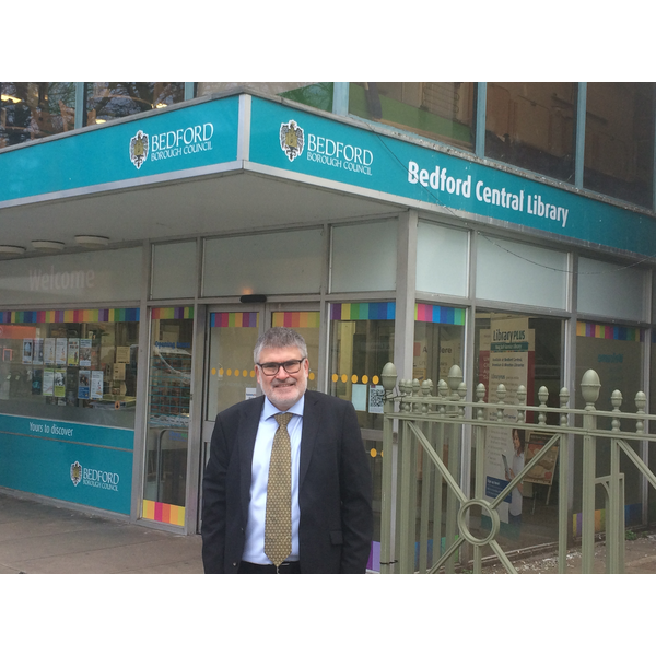 Mayor Dave Hodgson outside Bedford Central Library
