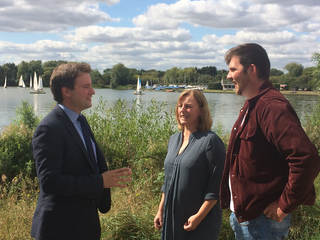 Henry Vann with Councillors Hilde Hendrickx and Jake Sampson at Priory Country Park