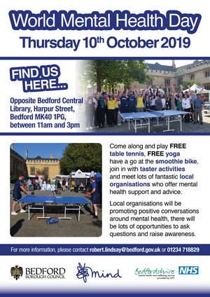 Bedford World Mental Health Day 2019 Poster