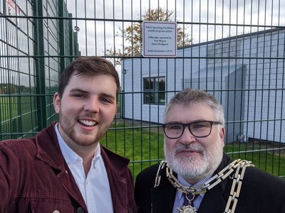 Mayor Dave Hodgson and Councillor Jake Sampson at the new 3G pitch at Mark Rutherford School