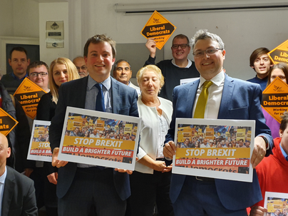 Henry Vann, Daniel Norton and Liberal Democrat supporters at the North Bedfordshire launch of the party's manifesto