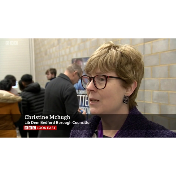 Cllr Christine McHugh on BBC TV