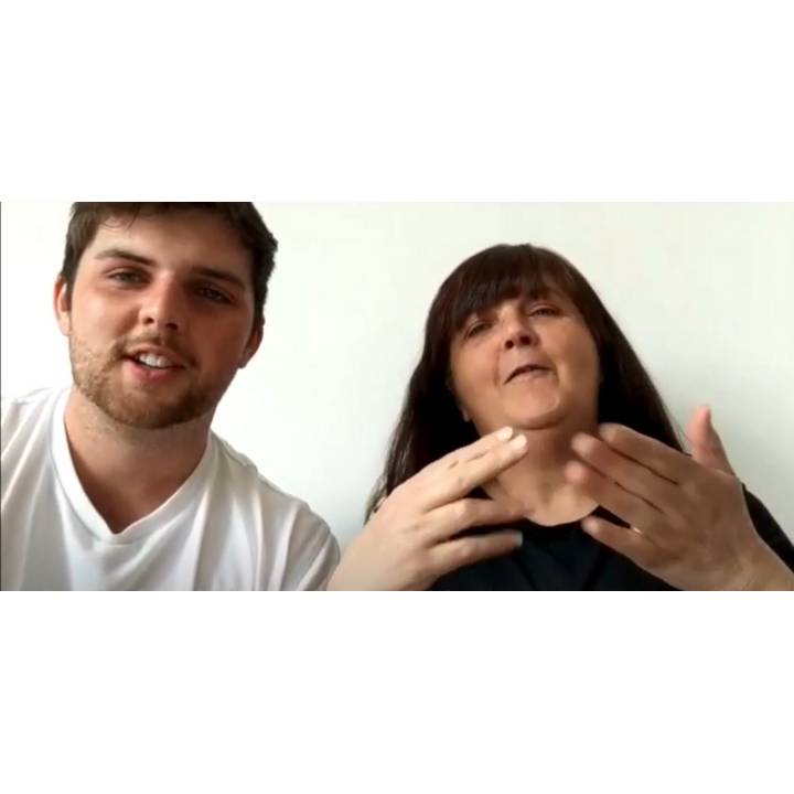 Still from a video featuring speech and BSL, with Cllr Jake Sampson and Suzie Sampson