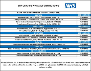 Pharmacy opening hours Boxing Day 2020