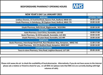 Pharmacy opening hours New Year Day 2021